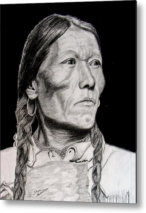 Indian Metal Print featuring the drawing Unknown Indian Vii by Stan Hamilton