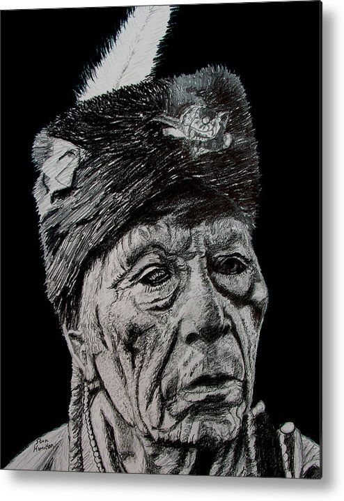 Indian Metal Print featuring the drawing Unkown Indian IIi by Stan Hamilton