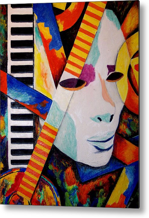 Keyboard Metal Print featuring the mixed media Unmasking The Sound by Angela Green