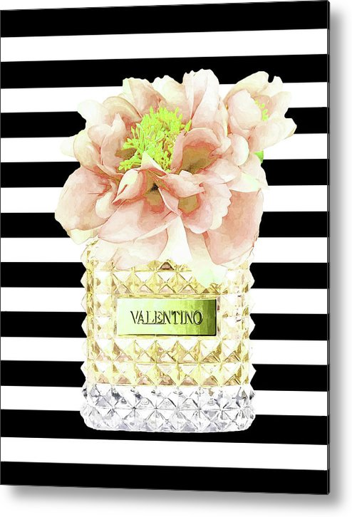 Valentino Metal Print featuring the mixed media Valentino Perfume With Flower by Del Art