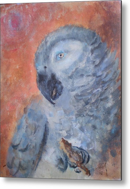 African Grey Parrot Metal Print featuring the painting Vinny by Bryan Alexander