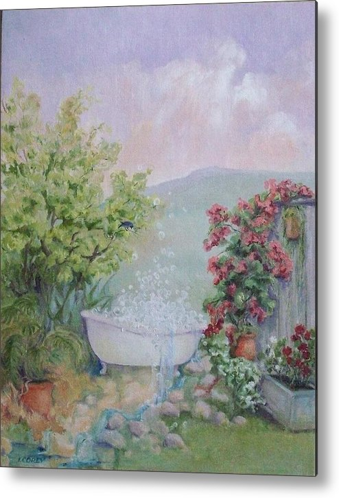 Landscape Metal Print featuring the painting Voyeur At The Secret Garden Health And Beauty Spa by Irene Corey