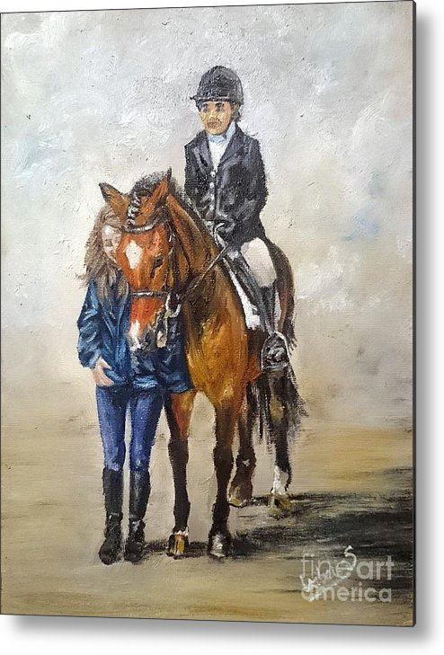 Equestrian Metal Print featuring the painting Waiting For Dressage by Abbie Shores