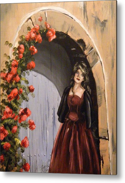 Door Metal Print featuring the painting Waiting by Scarlett Royal