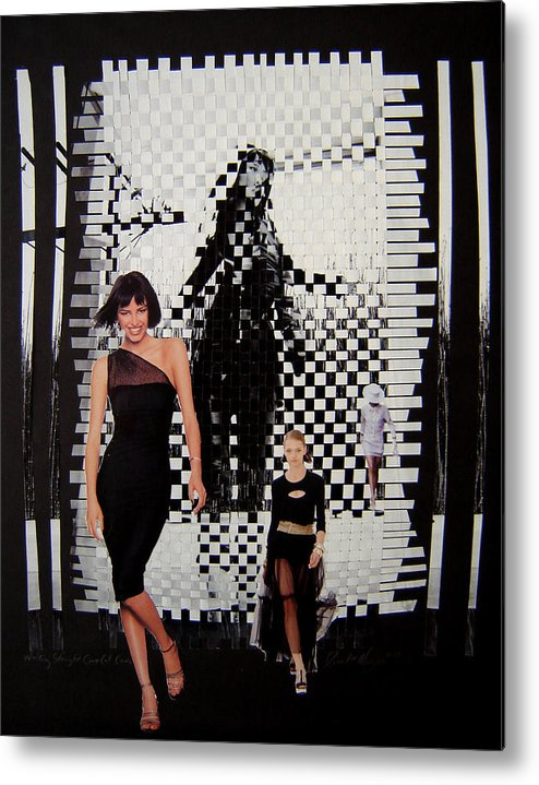 Woven Women Metal Print featuring the mixed media Walking Straight Curve Cut Cane by David m Morgan