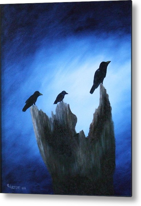 Birds Metal Print featuring the painting Watching For Company by Rebecca Fitchett