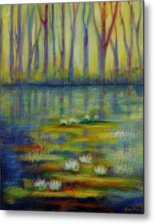 Water Metal Print featuring the painting Water Lilies No 2. by Evgenia Davidov