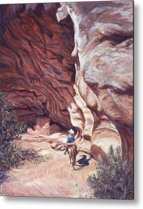 Landscape Metal Print featuring the painting We Have A Visitor by Page Holland