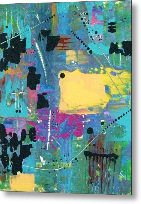 Abstract-expressionism Metal Print featuring the painting What The World Needs Now Is More Yellow by Charlotte Nunn