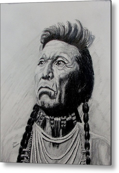 Indian Metal Print featuring the drawing Whirlwind by Stan Hamilton