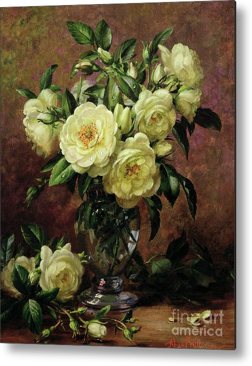 Rose; Still Life; Flower; Arrangement; Vase; Floral; Sentimental; Symbolic; Roses; White Roses; White Roses On The Floor; White Petals On The Floor Metal Print featuring the painting White Roses - A Gift From The Heart by Albert Williams