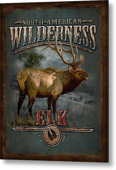 Bruce Miller Metal Print featuring the painting Wilderness Elk by JQ Licensing