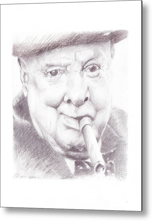 Winston Churchill Metal Print featuring the drawing Winston Churchill by James Ath