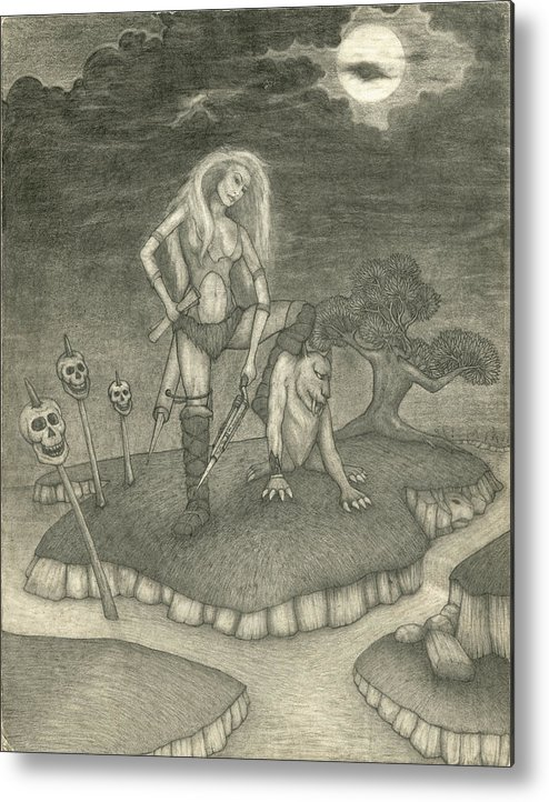 Fantasy Art Metal Print featuring the drawing Witch Woman by Michael Highsmith