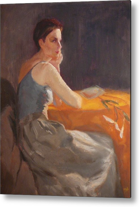 Young Woman Dressed In Modern Outfit Seated At A Table On Which A Single Stem Of White Lily Lies. Metal Print featuring the painting Sold Woman With Lily by Irena Jablonski
