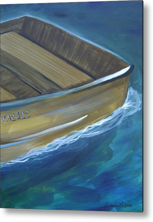 Metal Print featuring the painting Wooden Boat -rear by Amie La Voie-Moore