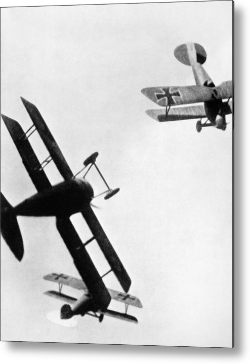 1914 Metal Print featuring the photograph Wwi: Dogfight by Granger