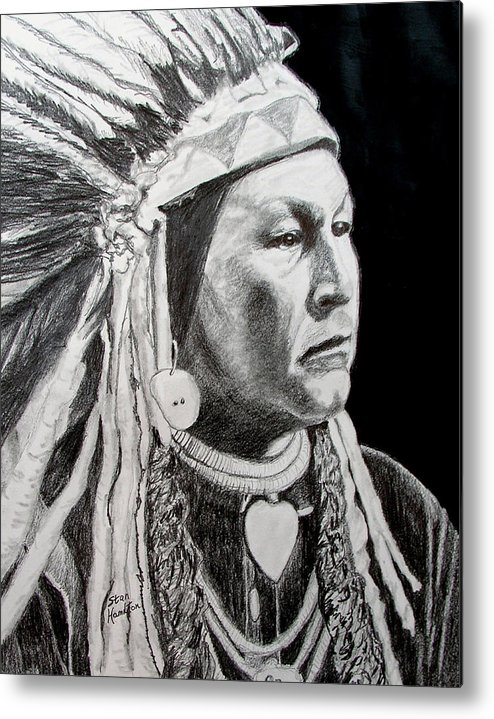 Indian Metal Print featuring the drawing Yellow Wolf by Stan Hamilton