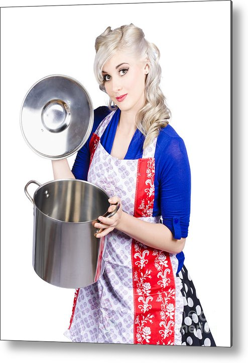 Woman Metal Print featuring the photograph Young Housewife Lifting Lid On A Home Cooking Pot by Jorgo Photography - Wall Art Gallery