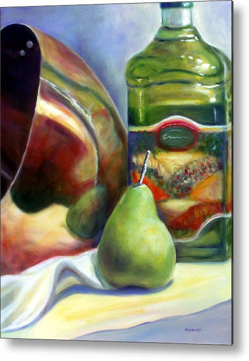 Copper Vessel Metal Print featuring the painting Zabaglione Pan by Shannon Grissom