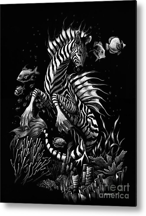 Seahorse Metal Print featuring the drawing Zebra Hippocampus by Stanley Morrison