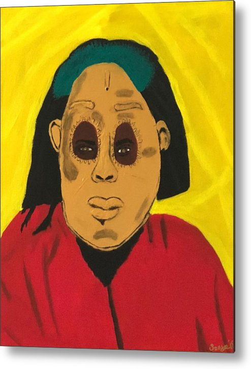 African Metal Print featuring the painting Ancestral Spirit by Sonye Locksmith