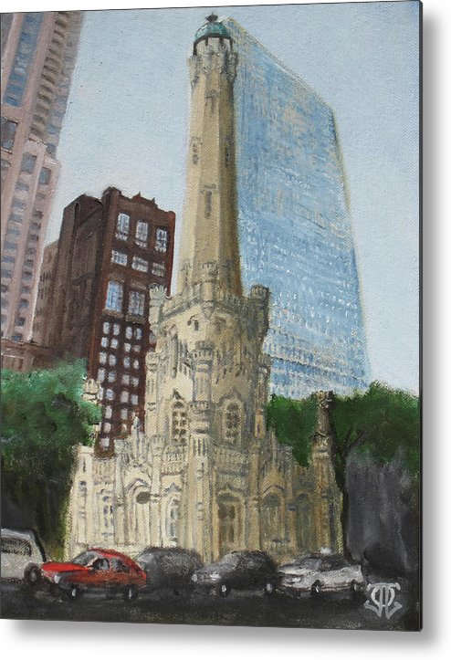 Chicago Metal Print featuring the painting Chicago Water Tower 1a by Jeffrey Oleniacz