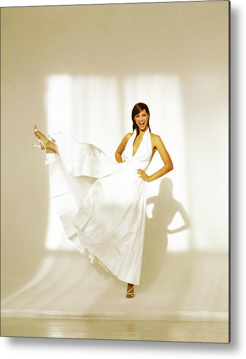 Fashion Metal Print featuring the photograph Christy Turlington Wearing A White Paper Dress by Arthur Elgort