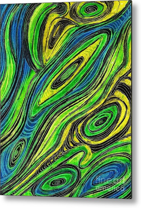 Line Metal Print featuring the painting Curved Lines 5 by Sarah Loft