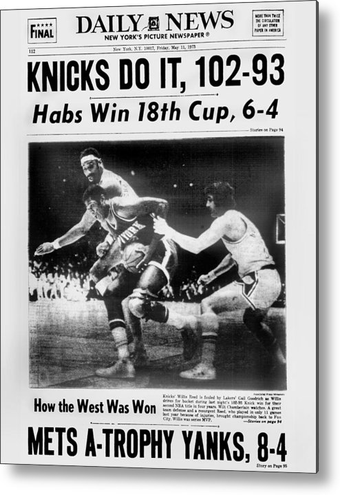 Playoffs Metal Print featuring the photograph Daily News Back Page May 11, 1973 by New York Daily News Archive