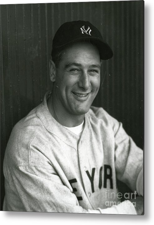 People Metal Print featuring the photograph Lou Gehrig Dugout Portrait by Transcendental Graphics