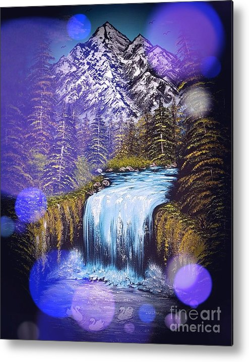 Blue Metal Print featuring the painting Mountain Views So Beautiful Blue Stardust Dark by Angela Whitehouse