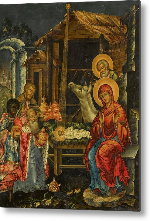 The Nativity Metal Print featuring the painting The Nativity, Russia, 1848 by Russian Art