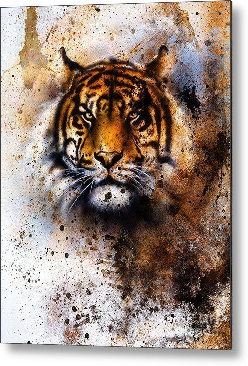 Big Metal Print featuring the photograph Tiger Collage On Color Abstract by Jozef Klopacka