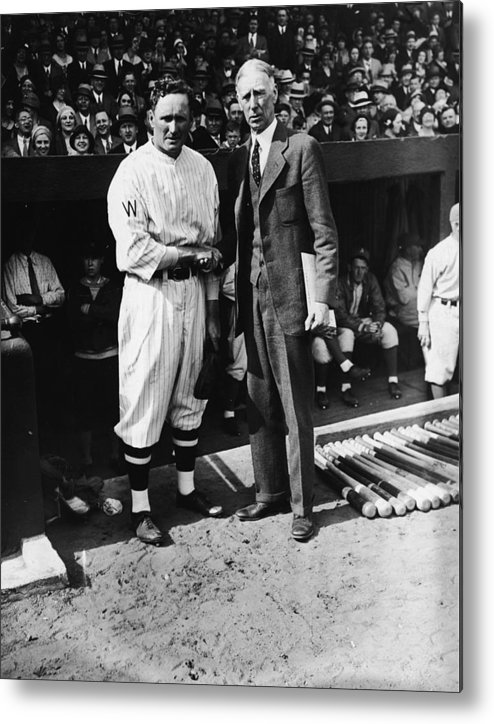 Crowd Metal Print featuring the photograph Walter Johnson And Connie Mack Shake by Fpg