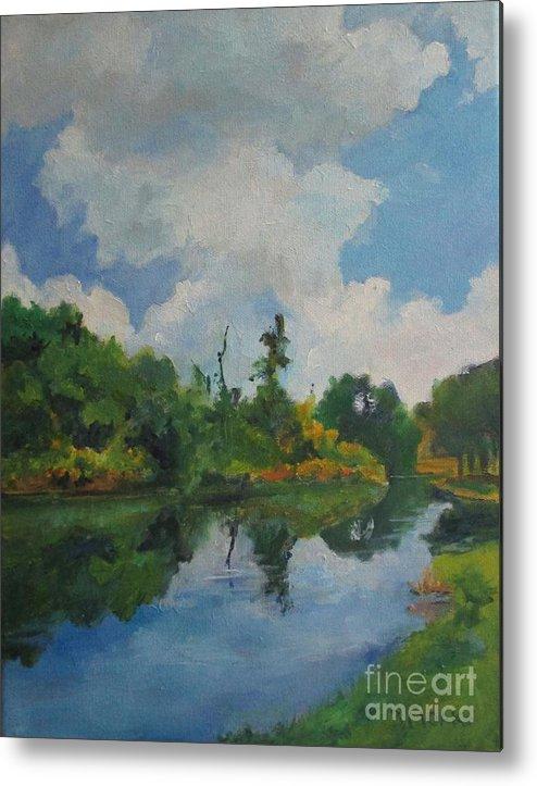 Barbara Moak Metal Print featuring the painting Waterway At Millennium Garden by Barbara Moak