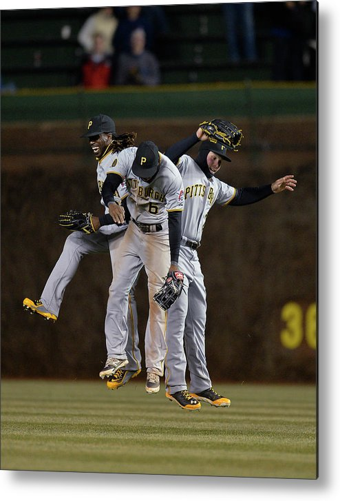 Celebration Metal Print featuring the photograph Andrew Mccutchen, Starling Marte, And Travis Snider by Brian Kersey