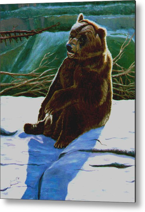 Original Oil On Canvas Metal Print featuring the painting The Bear by Stan Hamilton