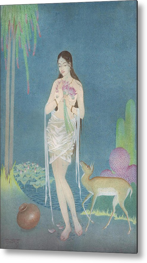 Large Metal Print featuring the painting At The Lake by Tulsidas Tilwe