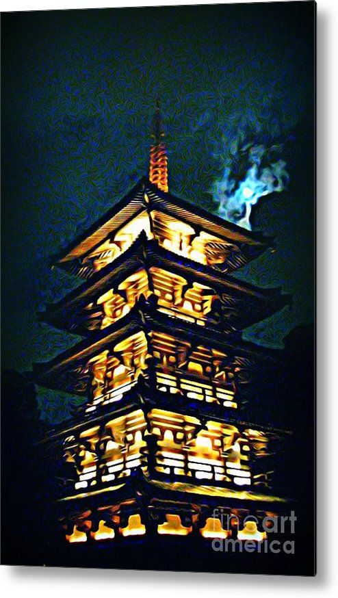 Chinese Pagoda At Night With Full Moon Metal Print featuring the painting Chinese Pagoda At Night With Full Moon by John Malone