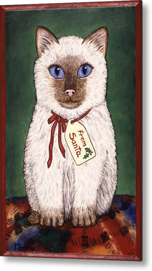 Kittens Metal Print featuring the painting Christmas Kitten by Linda Mears