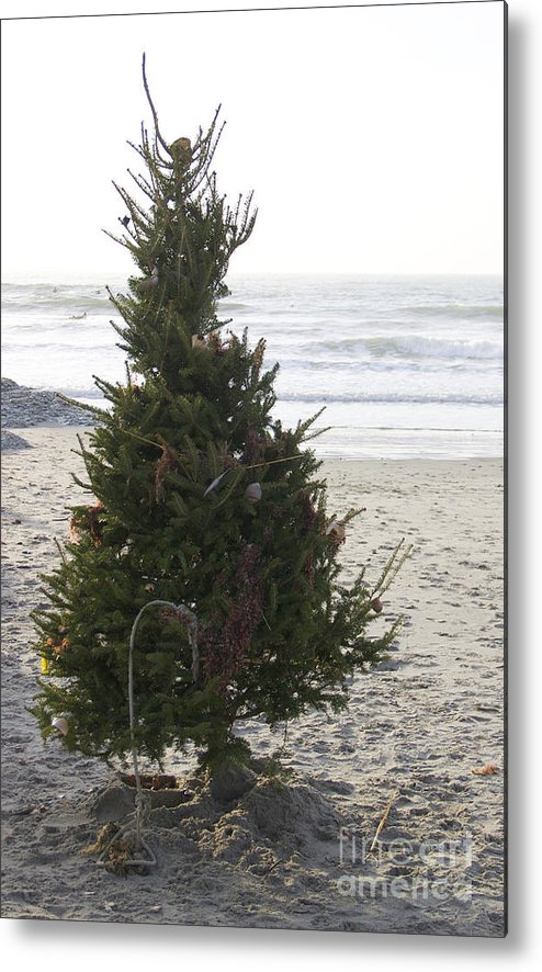 Christmas Tree Metal Print featuring the photograph Christmas On The Beach 1 by Michael Mooney