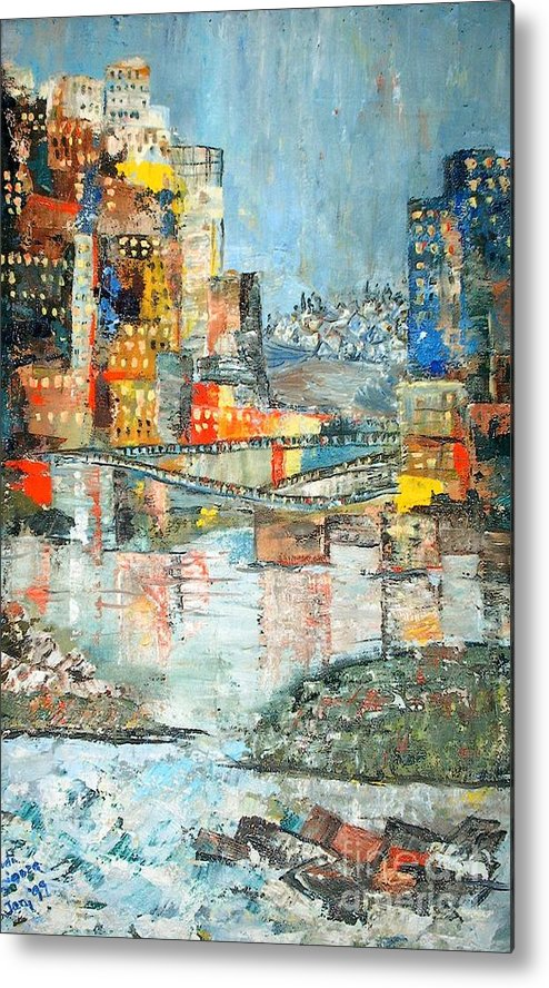 Cityscape Metal Print featuring the painting City By The River - Sold by Judith Espinoza