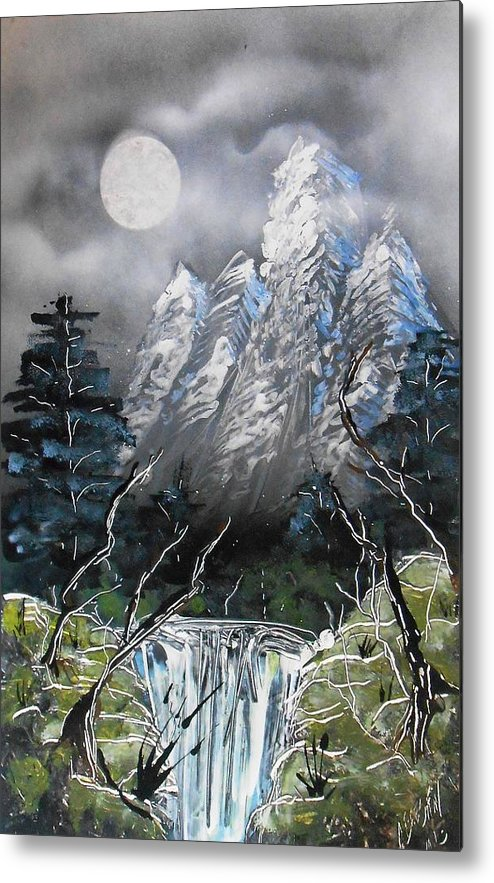 Landscape Metal Print featuring the painting Forest Moon by Aaron Beeston