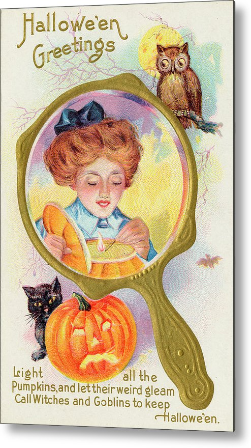 Customs Metal Print featuring the drawing Hallowe'en Magic - Lighting by Mary Evans Picture Library