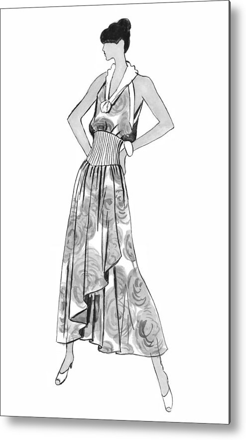 Fashion Illustration Metal Print featuring the drawing It's Sarong It's Right by Sarah Parks