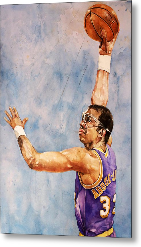 Lakers Metal Print featuring the painting Kareem Abdul Jabbar by Michael Pattison