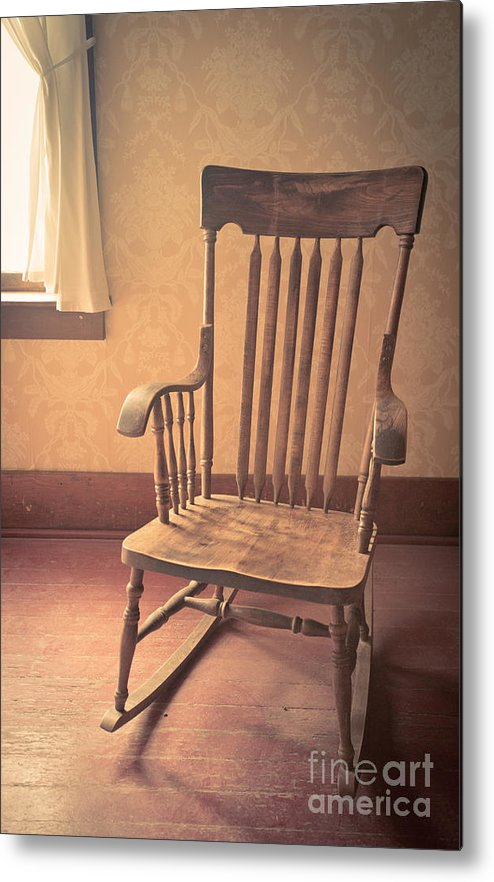Terrific Old Wooden Rocking Chair Metal Print Frankydiablos Diy Chair Ideas Frankydiabloscom