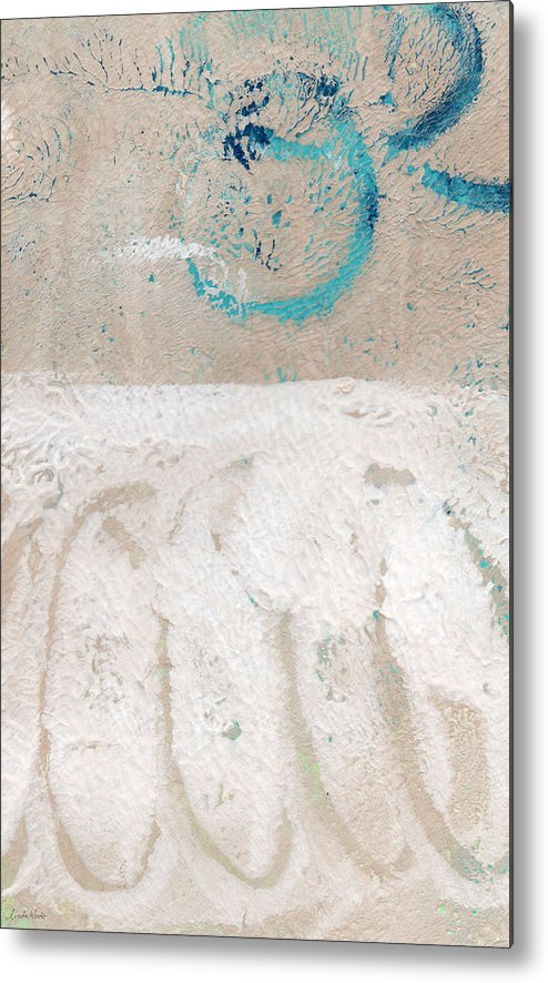 Abstract Metal Print featuring the painting Sandcastles- Abstract Painting by Linda Woods