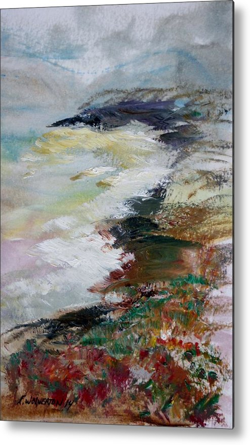 Sea Metal Print featuring the painting Shores Of Half Moon Bay by Edward Wolverton